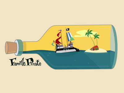 Famille Pirate bottle water inspiration island ship pirates pirate video motiongraphics motion design motion illustraion illustrator animation 2d animation after effects adobe 2d
