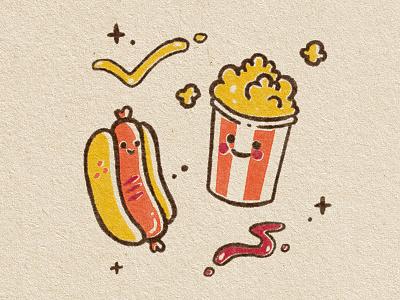 Hotdogs & Popcorn texture stamp risoprint riso movies popcorn illustration hotdog food cute