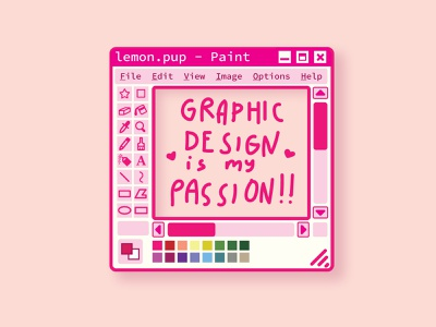 Graphic Design Is My Passion stickermule ms paint pink illustration