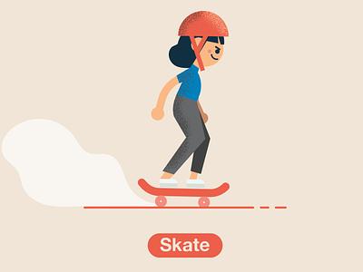 Sk8r Girl skateboarder skateboard skate illustration