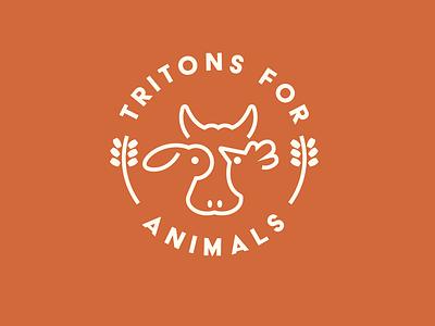 Tritons for Animals Logo bull cow chicken rabbit rustic barn farm animals logo