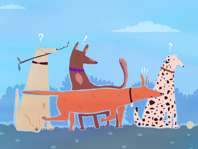Me and my Dogs ! animal drawing dogpark characterdesign illustration artwork draw dogstyle dogs curious happy doglife doggo dog procreate