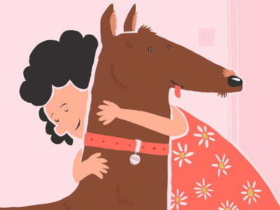 New Home ! hug animal drawing home characterdesign illustration artwork draw dogstyle dogs girl happy doglife doggo dog procreate