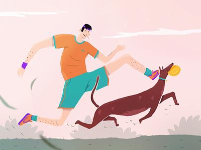 Parklife ! freedom animal drawing home characterdesign illustration artwork draw dogstyle run frisbee happy doglife jogger dog procreate