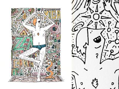 King Yoga chakra zen drawing art illustration handdraw draw character characterdesign yoga