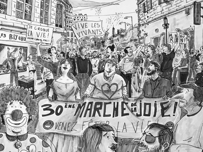 Walk for Joy ! city drawing pencil paper characterdesign happiness blackandwhite people manifestation protest walk illustration cutout