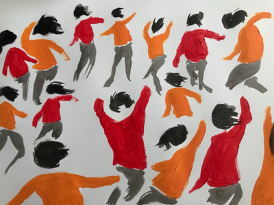 Dancers in the white pencil china ink paper silhouette red building orange painting paint mouvement party illustration dance
