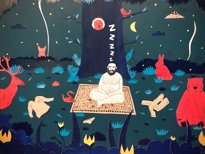 Under the tree paint paper cutout art characterdesign illustration sleeping nature forest tree