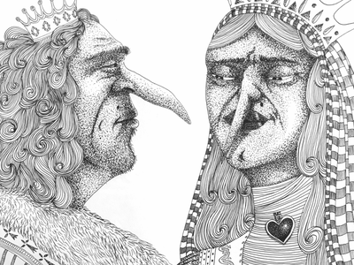 Queen & King characterdesign artwork faces crown paper portrait ink blackandwhite dotart dots illustration queen king