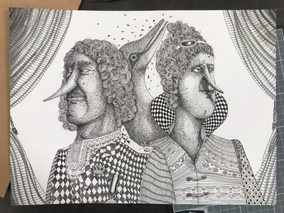 Deux Dauphins et une dauphine characterdesign artwork faces crown paper portrait ink blackandwhite dotart dots illustration king queen dolphin