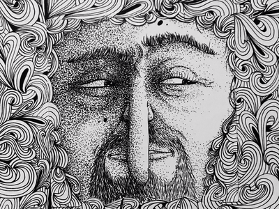 The Spy characterdesign artwork faces crown paper portrait ink blackandwhite dotart dots illustration nature hide espion spy