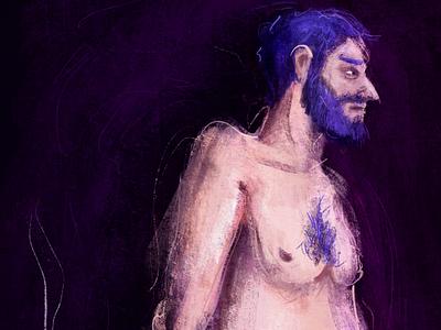 En Fumée digitalpainting characterdesign digitalart naked nude colors man procreate illustration cigarette walking underwear