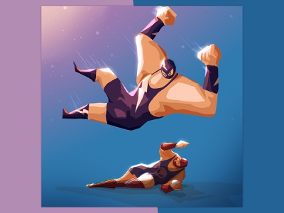 STRONG jump muscle fight wrestler luchador lucha digitalpainting digitalart characterdesign procreate illustration