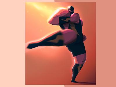 STRONG - High Kick fight wrestler luchador drawing artwork digitalpainting digitalart characterdesign procreate illustration kick