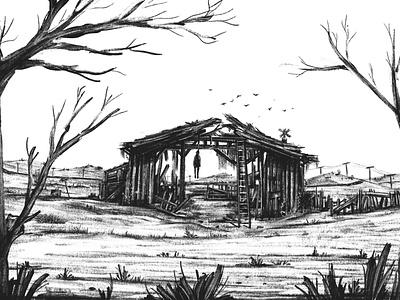 The Barn hanged illustrate pencil landscape barn blackandwhite digitalpainting digitalart procreate illustration