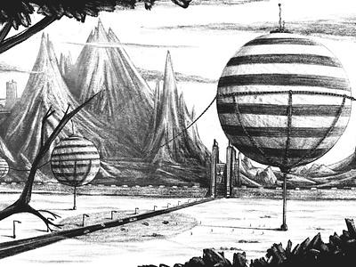 The door outdoor steampunk landscape pencil balloon blackandwhite illustrate ipadpro digitalart procreate illustration