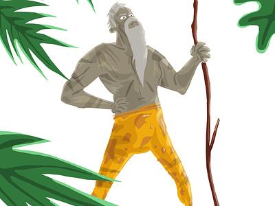Old Tarzan digitalart illustrator digitalpainting leaves forest ipadpro procreate illustration characterdesign stick old tarzan