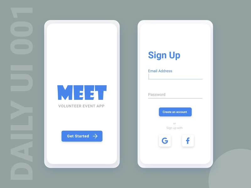 Daily UI challenge 001 - Sign Up eventapp event mobile signupform signup dailyuichallenge dailyui 001 dailyui