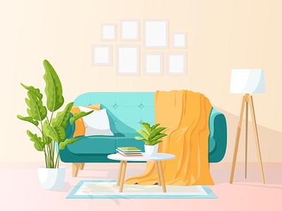 Living Room Illustration sofa room interior apartment decoration home house lamp living room adobe illustrator vector illustration design