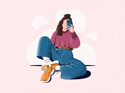 Chilling girl character girl painting digitalart artwork artist drawing art graphicdesign graphic design illustration chilling
