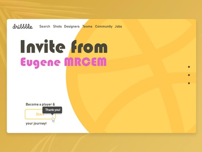 Hello Dribbble debute design thank you invite yellow hello dribbble first shot hello