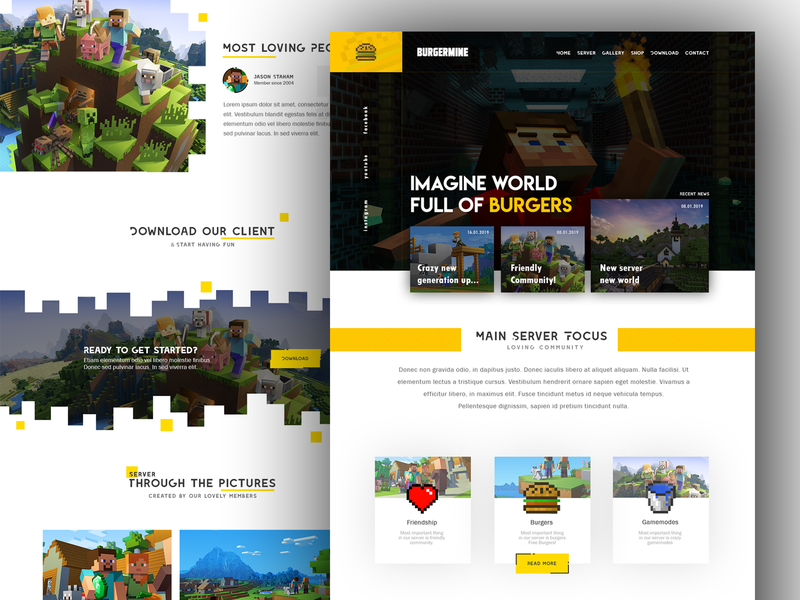 for Minecrafters creative server game yellow design ui  ux design gamers gaming website template mc minecraft