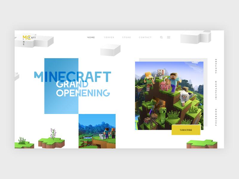 Minecraft Server Landing Page dailyui landing mc header ui  ux design website design creative gaming game template minecraft