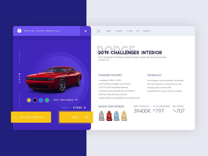 Vehicle marketplace game landing page ui  ux design design mustang caren template website app marketplace vehicle