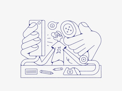 Me, calling with all my happy clients. vectorart lines lineart line illustrations illustrator vector design illustration