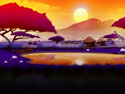African Landscape Illustration Digital Set Design africansetdesign mountainsscape akasiatrees african africanwildlife africanlandscape