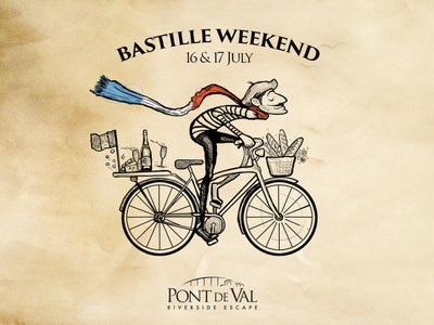 Bastille Weekend Illustration south african designer nicolas fourie typography design old paper french paper texture minimal mostache character design illustration fun happiness bliss french flag wine baguette bicycle frenchie french