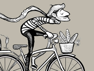 Bastille Weekend Line Art bicycle south african designer old paper nicolas fourie minimal mostache illustration happiness french paper frenchie french character design bliss baguette
