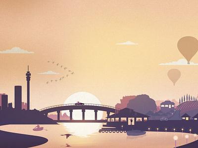 Pont de Val Conceptual Illustration escape city river vinyard hot air balloons sunset vector bistro french