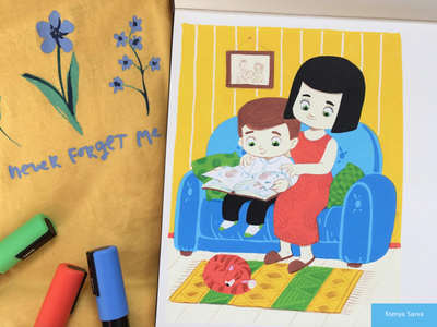 Cute cartoon illustration, mother and son color pet woman indoor home son cute posca markers sketchbook cat mother boy family moleskine children character for kids illustration cartoon