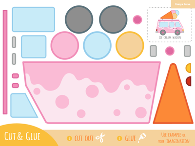 Cut and glue, education game for children, Ice cream wagon craft applique puzzle worksheet paper game cut and glue shop wagon ice cream transport vector activity learning education preschool adobe illustrator children for kids illustration cartoon