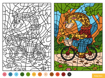 Giraffe on a bicycle. Color by number, education game for kids black and white puzzle worksheet activity page book coloring color by number bicycle giraffe animal education preschool vector adobe illustrator children character for kids illustration cartoon