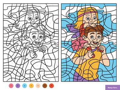 Father and daughter. Color by number, education game for kids worksheet happy puzzle coloring page color by number daughter father family man girl activity education preschool vector adobe illustrator children character for kids illustration cartoon