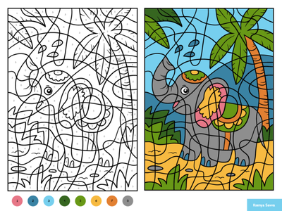 Cute elephant. Color by number, educational game for kids black and white worksheet puzzle book coloring page color by number tropical summer elephant vector preschool activity education animal adobe illustrator children character for kids illustration cartoon