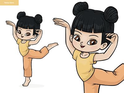 Cartoon modern dancer, asian girl. Character design anime dance activity club asian colour design modern dancer girl cute vector adobe illustrator children character for kids illustration cartoon