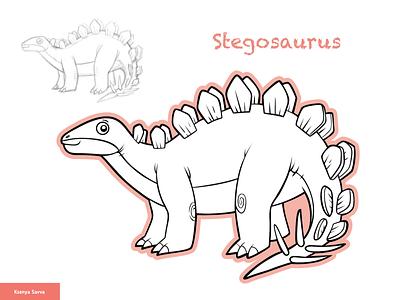 Stegosaurus, vector cartoon dinosaur sketch for boys archeology historic black and white book page coloring stegosaurus dinosaur learning animal activity vector adobe illustrator children character for kids illustration cartoon