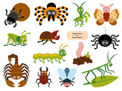 Set of cute cartoon animals for sticker activity book grasshopper spider creature summer fly worm moth bug set insect cute activity animal education vector adobe illustrator character for kids illustration cartoon