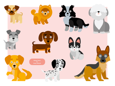 Set of cute cartoon dogs for sticker activity book bulldog dalmatian pomeranian cute set domestic home pet breed dog activity animal education vector adobe illustrator children character for kids illustration cartoon