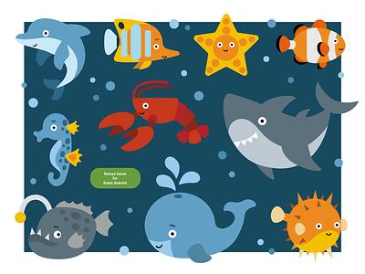 Set of cute cartoon sea animals for sticker activity book underwater dolphin whale book stickers shark ocean fish sea cute activity animal education vector adobe illustrator children character for kids illustration cartoon
