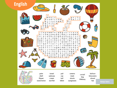 Word search puzzle, cartoon set of summer and holidays objects