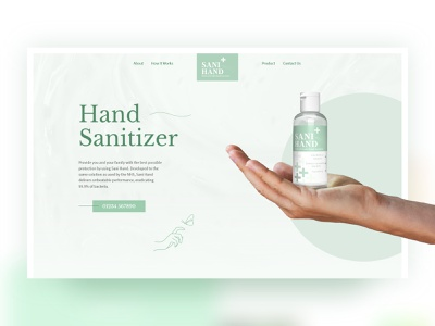 Hand Sanitizer Product Page hand gel coronavirus pandemic disinfectant hand sanitizer 3d adobe dimension adobe xd green landing page ui graphic design website web design
