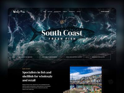Fish & Shellfish Wholesale 🐟 Website waves video adobe photoshop fisher dark black ocean sea adobe xd branding landing page graphic design ui web design