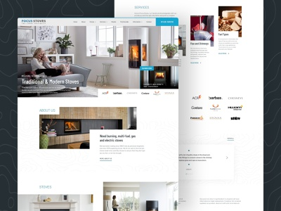 Specialist Stoves / Fireplace Store Website business service layout modern clean house fire shop store fireplace homepage stove ux ui design adobe xd website landing page graphic design web design