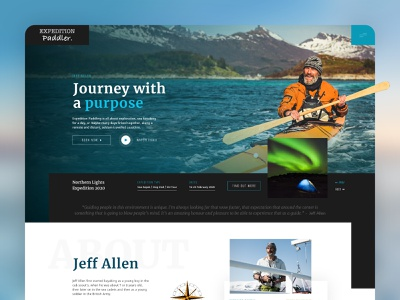 Explorer / Sea Kayaker Website Design paddler kayaking clean ux website design homepage webdesign explore journey mountains water ocean sea adventure adobe xd website ui landing page graphic design web design