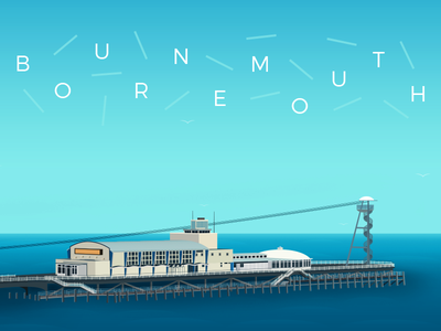 Bournemouth Pier - WIP Update work in progress sky blue england dorset illustrator illustration vector summer seaside beach sea