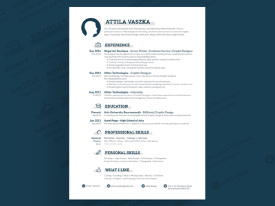 Personal Resume clean modern minimal indesign potentially free cv resume